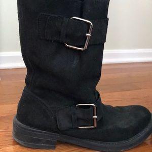 ALDO black suede moto boots, size 38